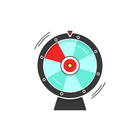 wheel of fortune: Wheel of fortune spinning vector icon illustration isolated on white background, flat cartoon design