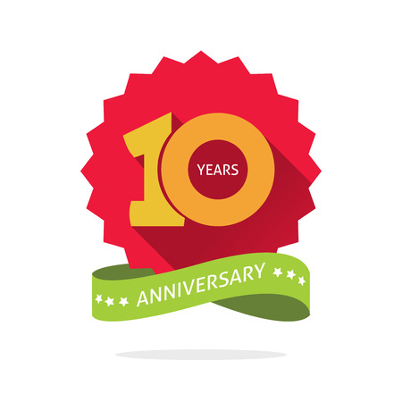 shadow on red starburst and yellow number 10 ten. 10 years anniversary icon. Tenth years symbol, sticker ribbon, vector emblem isolated on white