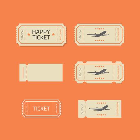 stub: Ticket icons vector set isolated on orange background, ticket stub line outline illustration design
