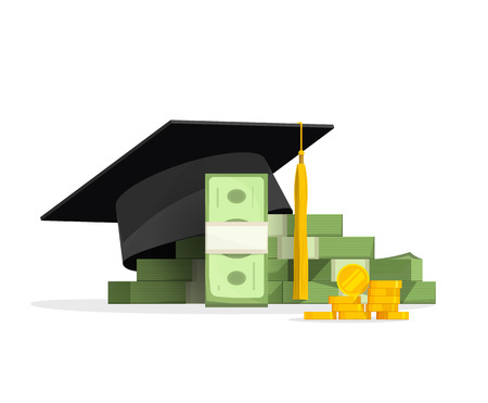 Graduation cap on pile of money and coins, concept of education costs, study cash, tuition fees, tax, pay, spending education money investment flat cartoon design isolated on white background
