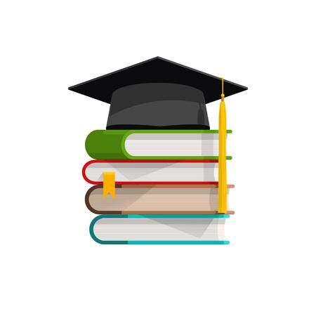 卒業の帽子の本の積み上げ、影と本の山とモルタル板、教育、学習、知識、知性、フラット漫画のベクトル図のシンボル デザインの分離ホワイト  イラスト・ベクター素材