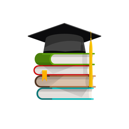 alumni: Graduation cap on books stacked, mortar board with pile of books with shadow, symbol of education, learning, knowledge, intelligence, flat cartoon vector illustration design isolated on white