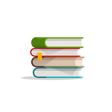 Boeken gestapeld, boeken stapelen met referentie, leerboek stack met schaduw, symbool van het onderwijs, het leren, platte cartoon moderne vector illustratie ontwerp op een witte achtergrond