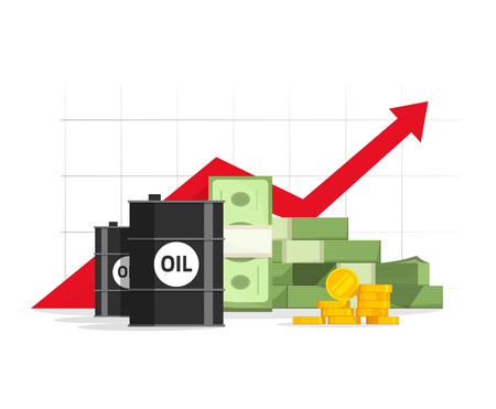 pinnacle: Oil barrel, money pile, red rising graph and upward arrow vector illustration, concept of revenue, financial success, production increase, budget, infographic element design isolated on white sign