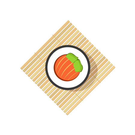 bamboo mat: Sushi roll with abstract vegetables, salmon ingredients on rolling wooden mat isolated on white background, flat cartoon logo element design