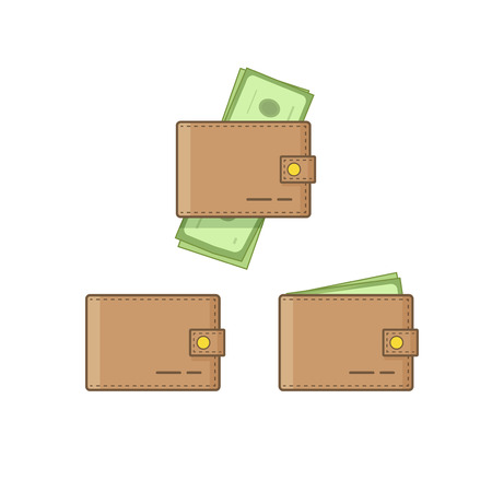 empty wallet: Wallet with money vector icon set isolated on white background, empty wallet and brown pocketbook cash flat cartoon simple design, linear outline style