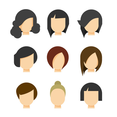 black wigs: Hair styling vector illustration isolated on white background, haircut set on woman head silhouette, hair abstract model flat cartoon shapes design