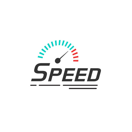 Speed logo vector template isolated on white background, speedometer with speed text and track lines, internet symbol, fast technology sign design element