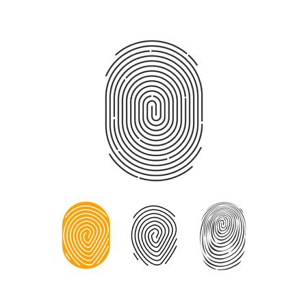 Fingerprint vector icons set, abstract thumbprint symbol, finger print sign, flat illustration design isolated on white background