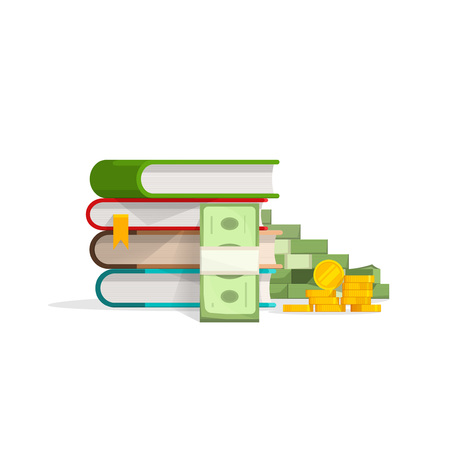 stack of cash: Books stack with pile of cash and coins vector illustration, concept of learning success, education expenses, investment, savings flat design isolated on white background