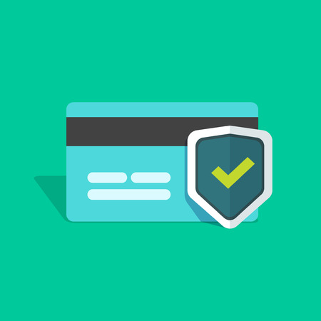cartoon tick: Credit card protection icon, secure payment sign, credit card with shield and green check mark flat simple vector illustration design isolated on greed background