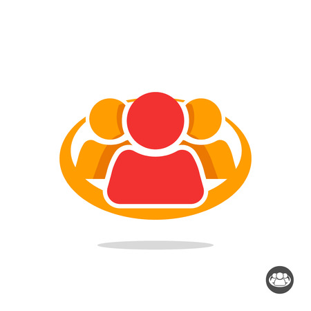 three friends: Group of three people logo sign, organization icon symbol, abstract family, team lead, leader, friends unity concept, teamwork, union, cooperation, support social flat colorful icon design isolated Illustration