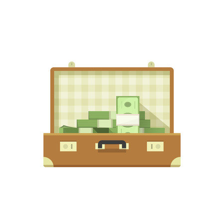 suit case: Leather suitcase open full of money vector illustration isolated on white background, suitcase money concept, suit case open, suitcase cash flat icon cartoon design Illustration