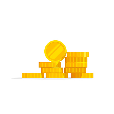 pile of coins: Coins stack vector illustration, coins icon flat, coins pile, coins money, one golden coin standing on stacked gold coins modern design isolated on white background
