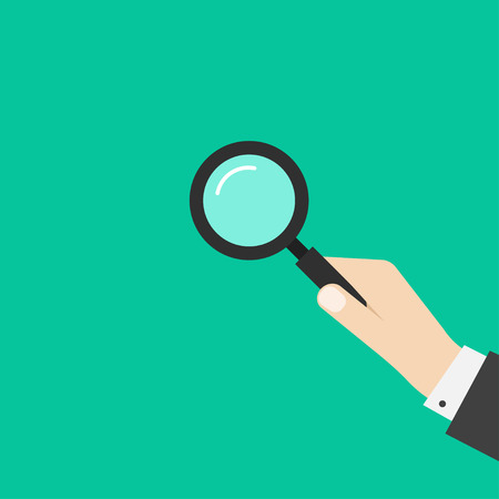 analyzing: Hand holding magnifying glass vector illustration template, simple black magnifier in business man hand, symbol of investigation, analyzing modern flat design isolated on green background