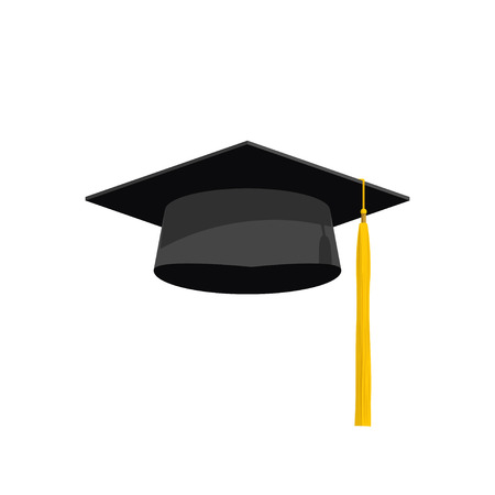 yellow tassel: Graduation cap vector illustration, graduation hat icon, academy hat symbol flat simple cartoon design with shadow and yellow tassel isolated on white background