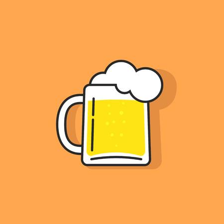 ホワイト ビール ガラス発泡ベクトルのアイコン、パブ、ビール飲むバー記号、抽象的なパブの概念と歌う、ビール マグカップ フラット概要線形テ