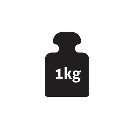 Weight 1 kg vector icon isolated on white, 1 kilogram dumbbell black pictogram, one kg weight flat cartoon illustration design