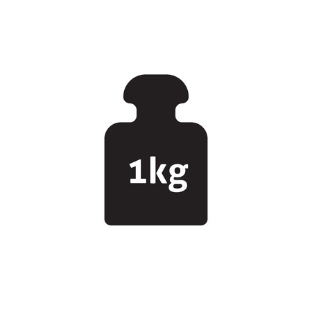 Weight 1 kg vector icon isolated on white, 1 kilogram dumbbell black pictogram, one kg weight flat cartoon illustration design