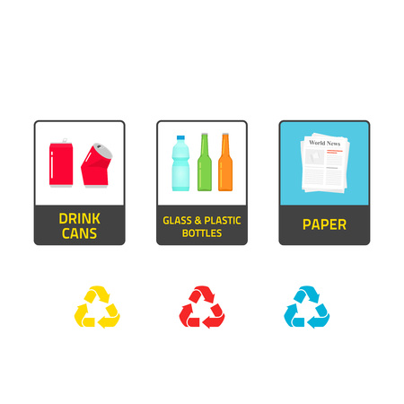 segregate: Stickers for recycling trash bins vector illustration isolated on white background, recycle labels for waste bin can types, recycling plastic, glass bottles, recycling metal cans, paper info stickers Illustration
