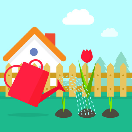 water can: Garden vector illustration, cartoon village garden with house, red water can watering flowers sprouts, gardening concept design