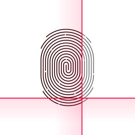 thumbprint: Fingerprint scan vector illustration isolated on white background, electronic scanner, flat linear outline concept design Illustration