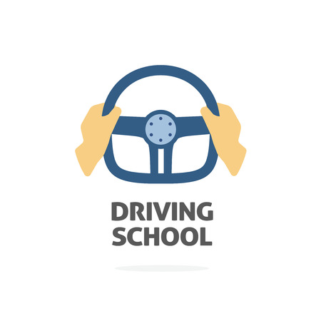 driving school: Driving school  vector template, hands holding sport steering wheel icon, flat trendy cartoon symbol design isolated on white background sign