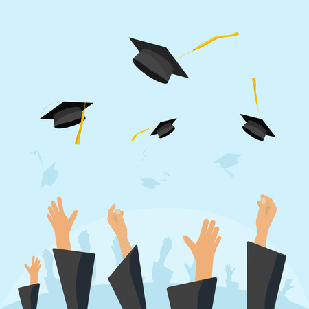 academic gown: Graduating students of pupil hands in gown throwing graduation caps in the air, flying academic hats, throw mortar boards in the sky flat cartoon vector illustration design isolated on blue background
