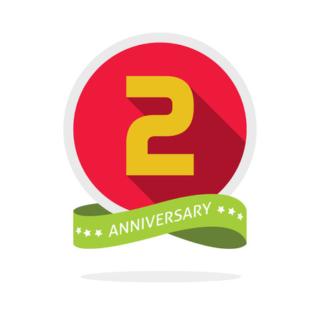 2nd: 2nd anniversary   template with a shadow on red circle and yellow number 2 two. 2 years anniversary icon. Two years symbol, second, promotion sticker ribbon, vector emblem