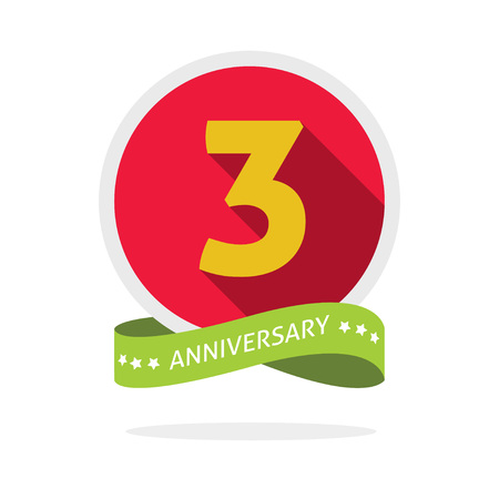 3rd: Anniversary 3rd template with a shadow on red circle and yellow number 3 three. 3 years anniversary icon. Three years symbol, second, promotion sticker ribbon, vector emblem