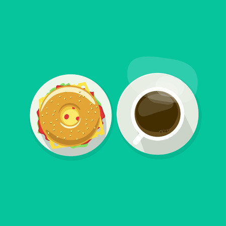 Coffee cup with donut sandwich top view vector illustration, coffee break, breakfast meal, fast food snack, burger and tea mug on plate flat simple cartoon design isolated on green background