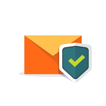 protect safety: Email security concept, orange e-mail envelope with shield icon, concept of internet mail protection, data protect, safety, secure email, sign flat cartoon design isolated on white