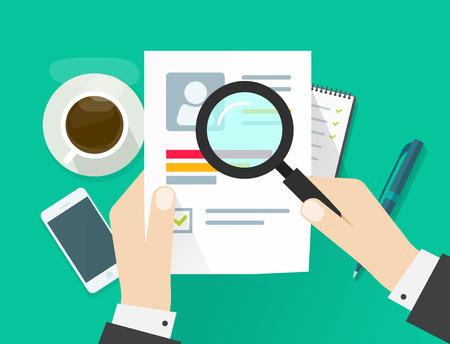 CV hoja de papel de la aplicación, el hombre de negocios que llevan a cabo las manos documento de hoja de vida, el concepto de búsqueda entrevista de trabajo, la investigación habilidades de datos personales, los resultados del entrenamiento analizar diseño moderno plana aislado en verde Ilustración de vector