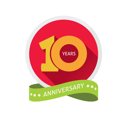 10 years anniversary: Anniversary 10th  template with a shadow on circle and the number 1 one. 10 years anniversary icon. Ten years birthday party symbol. Tenth company. Promotion sale sticker ribbon, poster, emblem