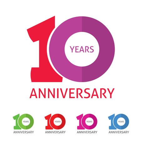 10th anniversary  template with a shadow on circle number 1 one. 10 years anniversary icon. Ten years birthday party symbol. Tenth company sale sticker, badge, ribbon, poster,   emblem