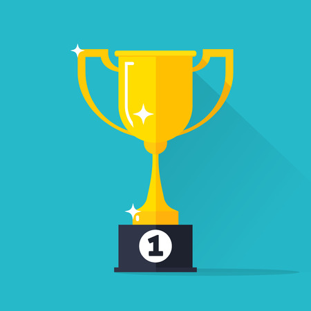 1st place: Golden cup vector illustration isolated on blue background, gold cup icon with winner 1st place pedestal, shiny yellow cup golden flat cartoon design