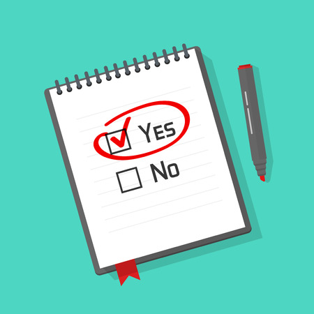 cons: Yes no checked with red marker line, yes selected with red tick and circled, concept of motivation, voting, test, positive answer, poll, selection, choice modern vector illustration design on white