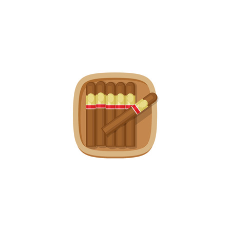 tobacco product: Cigars box with havana cigars vector icon isolated on white background, brown flat cartoon cuban cigars case in wooden box illustration Illustration