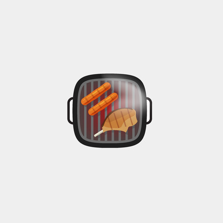 pork ribs: Barbecue grill vector icon isolated on white background, hot grilled sausages and grilled steak meat on barbecue grill with smoke, cooking food flat cartoon illustration design