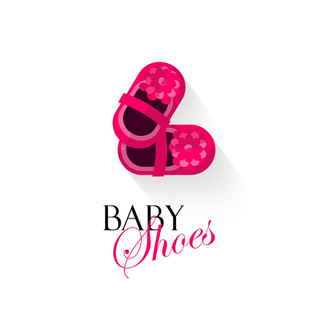 Baby shoes vector illustration isolated on white background, pink shoes for small girls, kids shoes cartoon flat design, banner, poster or card cover