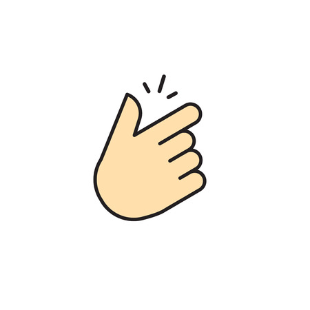 Snap of fingers vector icon isolated on white background. Flat finger snap illustration with snapping sound lines. Snapping fingers cartoon linear outline symbol design