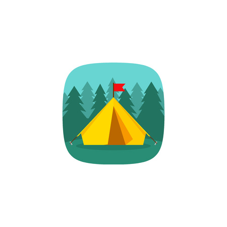 C&ing tourist tent on forest landscape vector icon forest c&ing concept icon hiking  sc 1 st  123RF Stock Photos & Camping Tourist Tent On Forest Landscape Vector Illustration ...
