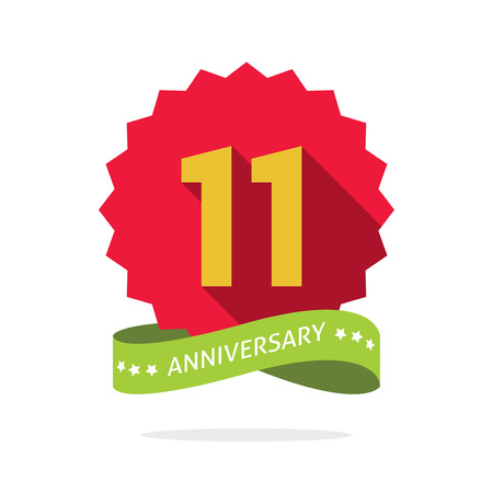 eleventh birthday: 11th anniversary badge with shadow on red starburst and yellow number 11 eleven.11 years anniversary icon, eleventh years symbol, ribbon, vector emblem isolated on white