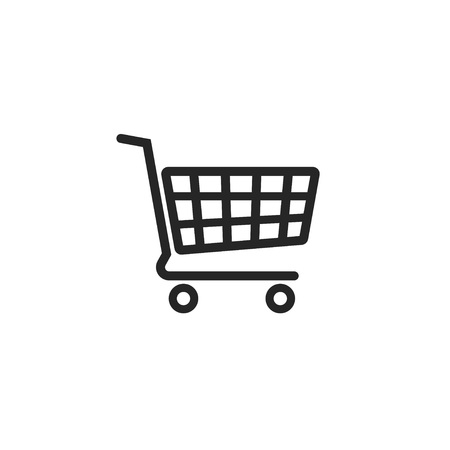 supermarket trolley: Shopping cart vector icon, supermarket trolley pictogram, flat simple outline sign design, linear thin line illustration isolated on white background