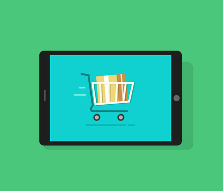 product purchase: Tablet computer and full shopping cart moving, cardboard box inside, concept of mobile online order, ecommerce sale, product purchase, delivery, transportation flat cartoon design vector illustration