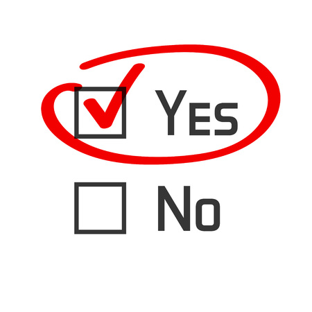 encircle: Yes no checked with red marker line, yes selected with red tick and circled, concept of motivation, voting, test, positive answer, poll, selection, choice modern vector illustration design on white