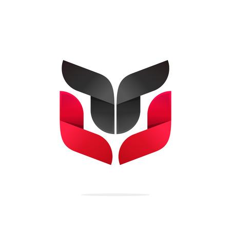 bata blanca: Resumen escudo de armas fuerte ilustraci�n vectorial, belleza concepto gradiente negro rojo, s�mbolo tecnolog�a, la forma de tendencias, dise�o de marca moderna, animal geom�trica, cara de robot aislado en el fondo blanco