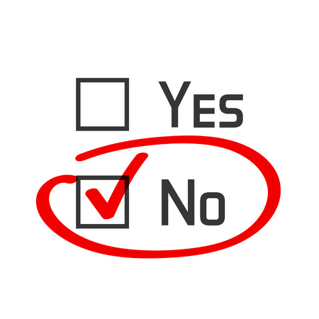 cons: No checked with red marker line, no selected with red tick and circled, yes no concept of motivation, voting, test, negative answer, poll, selection, choice modern vector illustration design on white