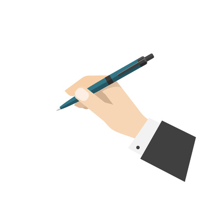 ball pen: Hand holding ball pen illustration,   pen in hand ready to write or draw or make note, ballpoint pen flat cartoon icon design isolated on white background image Illustration
