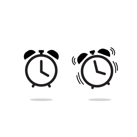 Alarm clock vector icon isolated on white background, simple line outline style, alarm clock ringing icon modern design Vettoriali